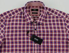 Men's HUGO BOSS Red Blue White Plaid LOK Shirt 2XL XXL NWT NEW $145+ Nice!