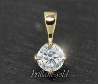 Brillant Solitär Diamant Anhänger mit 0,35 ct; Lupenrein, 14K Gelbgold Damen