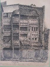 FOSSE Dessin original maison à pans de bois Rouen rue Malpalu Normandie 1886