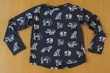 GIRLS H&M ANIMAL WILDLIFE CHARCOAL GREY LONG SLEEVE T PANDA TIGER BEAR SZ 9 10