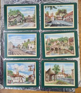 Vintage 90s PIMPERNEL Place Mats X6 English Villages cork back green border