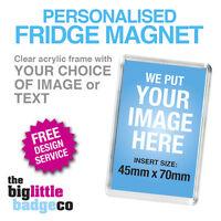 FRIDGE MAGNET * PERSONALISED * CUSTOM * ACRYLIC 70mm x 45mm * Photo * Logo *