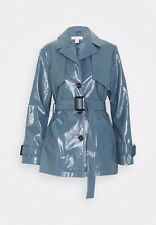 Topshop Blue Faux Leather Patent Vinyl Croc Belted Blazer Trench Coat Size 8 New