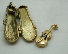 Stunning Large 9ct Gold Ornate Violin Case With Violin Inside Charm / Pendant