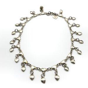"""925 Sterling Silver Vintage Heart Dangle Anklet 10"""""""