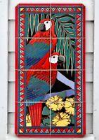 Large Hand Painted Signed Vintage Ceramic Tile Tropics Macaw Parrot Flora Mural