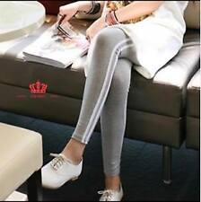 Leggings with White Side Stripe - Gray