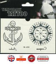 Pirata Brújula Brazo Muñeca Impermeable Tatuaje Temporal Pegatinas Arte Corporal ym-j059