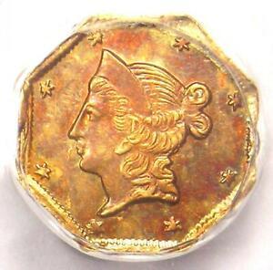 1853 Liberty California Gold Dollar G$1 BG-522 R6. PCGS UNC Det (MS) - Rarity-6+