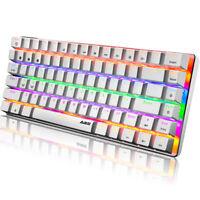 Wired Mechanical Gaming Keyboard, Rainbow LED Backlit USB Cable, 82 key Keyboard