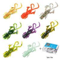 10Pcs 50mm Soft Lures Worm Fishing Artificial Lures Minnow Baits + 5Pcs Hooks
