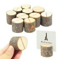 10Pcs Wedding Decoration Wooden Name Place Card Holders Stump Shape Table Holder