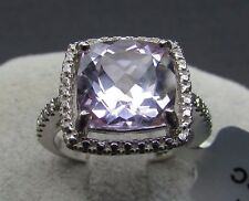 3.99 cts Rose De France Amethyst Solitaire Size 7 Ring 925 Sterling Silver