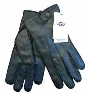 New UGG Australia Mens Metisse Tabbed Vent Tech Black Leather Gloves Large