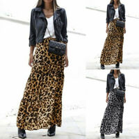 UK Women Casual Elastic Waist Leopard Printed Skirt Ladies A-Line Midi Dresses