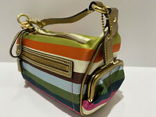 COACH LEGACY STRIPE 40664 TOP HANDLE POUCH KISSLOCK POCKET Bag ~RARE $248 MSRP!!