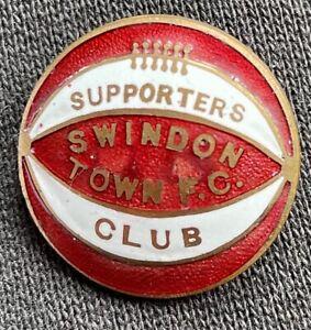 SWINDON TOWN FC BADGE SUPPORTERS CLUB VINTAGE 1930s GILT & FOOTBALL BADGE
