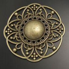 5pcs Antiqued Bronze Vintage Alloy Round Hollow Flower Pendant Charms 02746