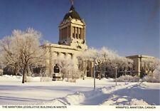 Winnipeg Manitoba MB Legislative Building in Winter Snow Vintage Postcard D17