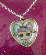 Silver Plated Heart Pendant Necklace LOL Doll Surprise Unicorn