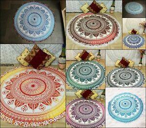 Beach Towel Cotton Fabric Small Roundie Wall Hanging Beautiful Handmade Yoga Mat