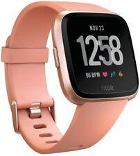 Fitbit Versa Smart Watch, Peach/Rose Gold Aluminium, One Size, S & L Bands Incl