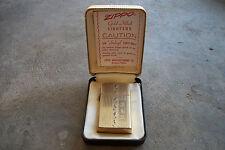 1960's gold filled engine turned line design slim line Zippo lighter in box