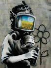 Banksy Canvas Print Wall Art Graffiti Street Art Poster Banksy Gas Mask Boy