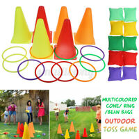 3 In 1 Cone Bean Bags Ring Toss Game Traffic Throw Hoop Family Outdoor Games
