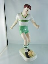"HOLLOHAZA, SOCCER PLAYER in GREEN PANTS WHITE SHIRT 10 3/8"" PORCELAIN FIGURINE"