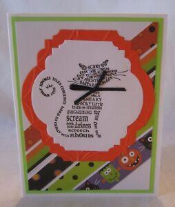 Handmade HALLOWEEN CARD Cat with Bug Eyes Stripes Blank Inside U Choose How Many