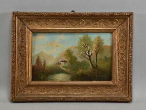 a77l12- Gemälde, Landschaft mit Haus, undeutlich signiert, Zierrahmen