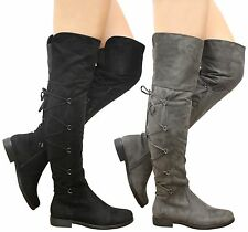 Ladies Womens Low Heels Gusset Lace Up Thigh High Over The Knee Boots Shoes Size
