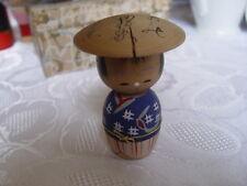 VINTAGE JAPANESE HANDPAINTED KOKESHI DOLL WITH BIG HAT
