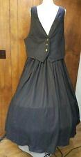 Black Striped Skirt & Matching Vest Used Civil War Style Size 20-22
