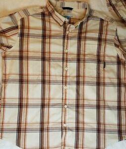 Columbia Sportswear Mens (XXL) Orange and Brown Plaid Button Up Shirt