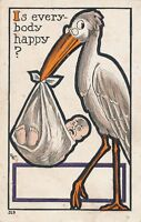 Stork and Baby Is Everybody Happy Birth Postcard - 1908