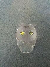 Swarovski Crystal Large Owl Figurine, w/ Frosted Face & Iridescent Eyes, Box Coa
