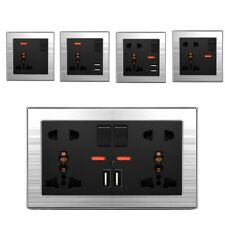 UK US EU AU Mains 13A 2 Gang Double Power Wall Socket Plate USB Charge Outlet