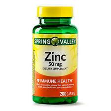 Brand New Spring Valley Zinc Vitamin 50 mg 200 Count Caplets For Immune Support