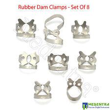 Set Of 8 Dental Ivory Rubber Dam Clamps Winged Premolar Clamp Molar MEDENTRA® CE