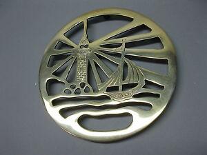 Brass Coaster Pot Coaster Style 7 1/8in Warmer Lighthouse Nautical