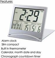 Travel Desk Digital LCD Thermometer Calendar Alarm Clock Flexible Cover