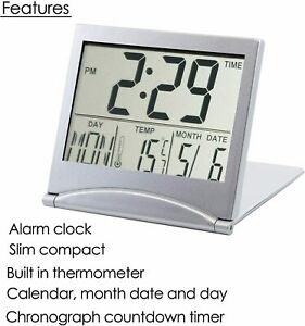 Travel Desk Digital LCD Thermometer Calendar Alarm Clock Flexible Cover