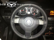 FOR VAUXHALL VECTRA C 02-08 REAL BLACK LEATHER STEERING WHEEL COVER GREY STITCH