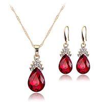 Halskette Ohrringe Diamant Wassertropfen Elegante Damen Schmuck Set Kristal F7X4