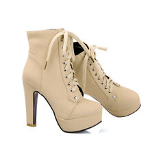 Hot Womens Platform Ankle Boots Block High Heels Lace up Court Shoes Plus Size
