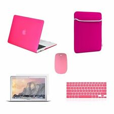 "5 IN 1 Macbook Air 13"" Matte Hot Pink Case + Keyboard Skin + LCD + Bag + Mouse"