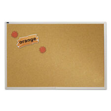 Natural Cork Bulletin Board, 72 x 48, Anodized Aluminum Frame