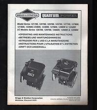 Briggs & Stratton Quantum Power Operating Maintenance Instructions guide manual